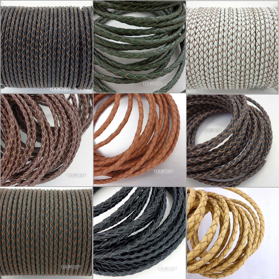 Genuine Braided Round Leather Cord Diy Jewelry Necklace