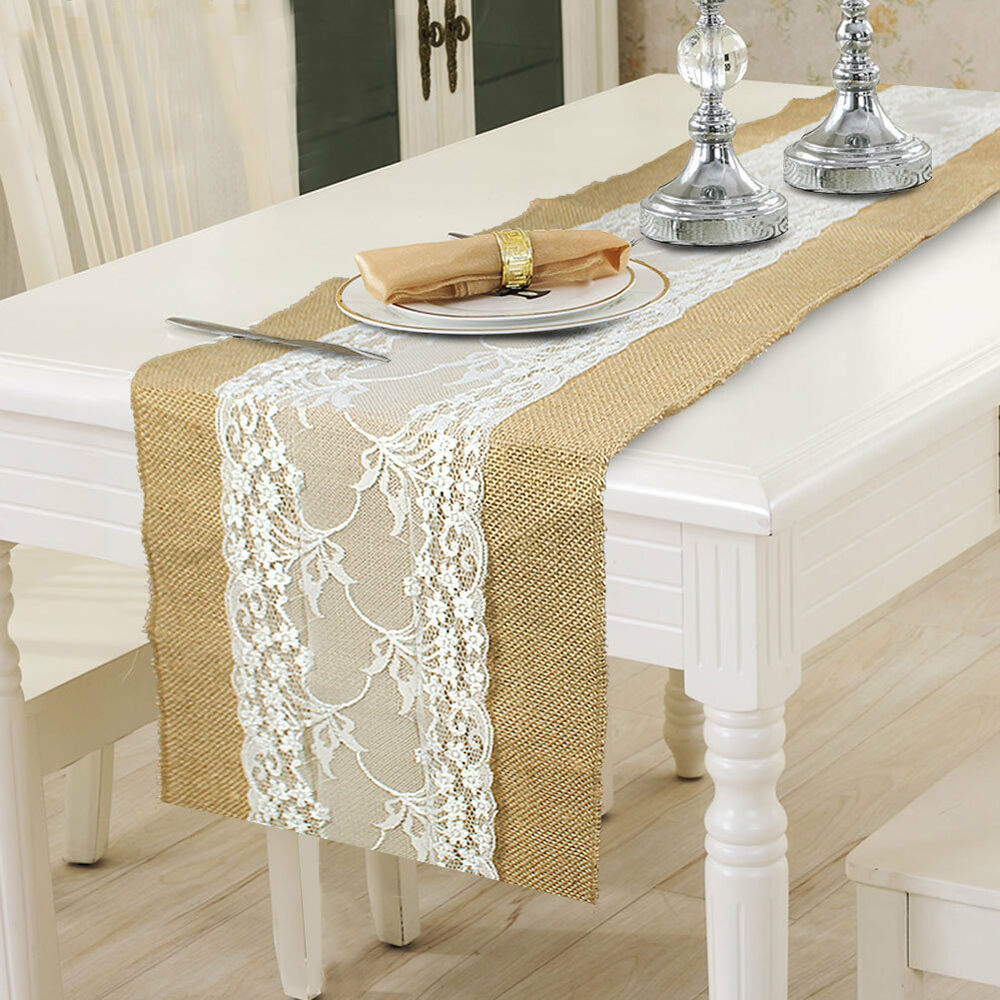 Burlap Wedding Ideas: Burlap Lace Hessian Table Runner Wedding Party Tablecloth