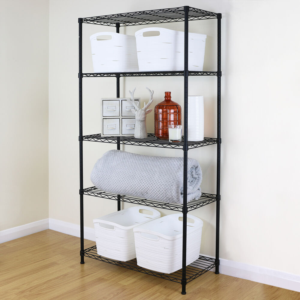 5 Tier Black Metal Storage Rack/Shelving Wire Shelf