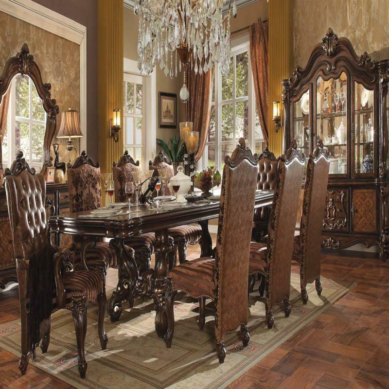 Traditional Dining Room Set: Modern Antique Traditional Modern Style Cherry Oak 9pc