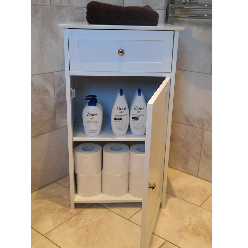 Bathroom storage cabinet bedside unit drawers shelf white for White wooden bathroom drawers