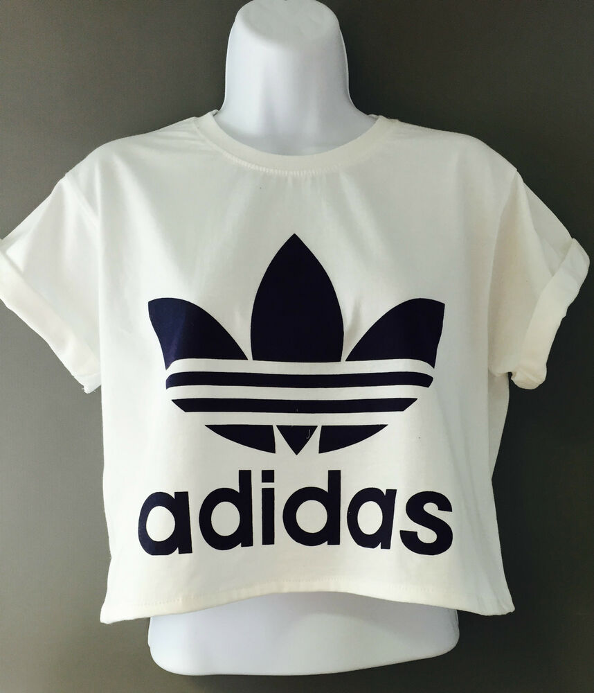 new reworked adidas originals crop top t shirt white ibiza. Black Bedroom Furniture Sets. Home Design Ideas