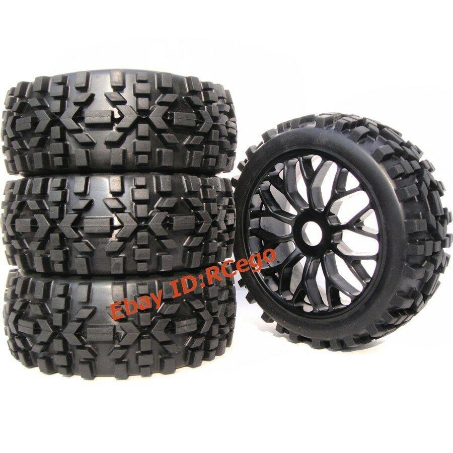 4pcs 1 8 rc off road tires hex 17mm wheels for all terrain wild buggy car part ebay. Black Bedroom Furniture Sets. Home Design Ideas