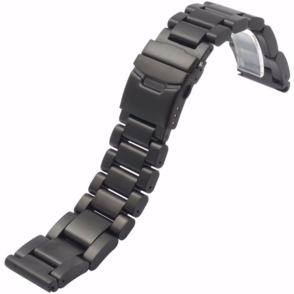 Black/Silver Solid Stainless Steel 22 24 26 mm Strap Mens ...