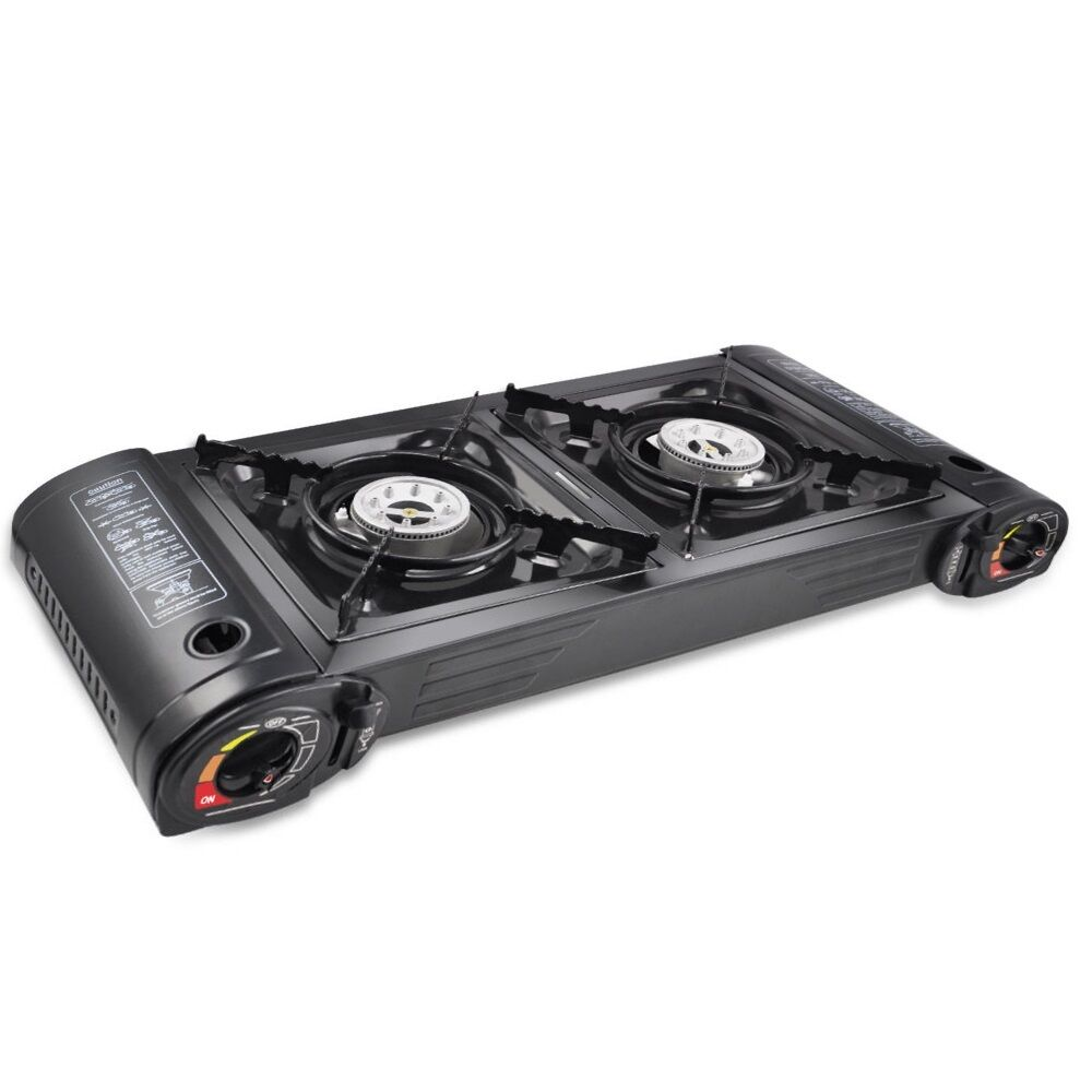 CAMPING STOVE GAS DOUBLE BURNER COOKER HEATER PORTABLE BBQ ...