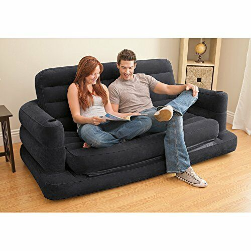 Pull out sofa inflatable bed queen size blow up mattress loveseat portable new ebay Pull out loveseat sofa bed