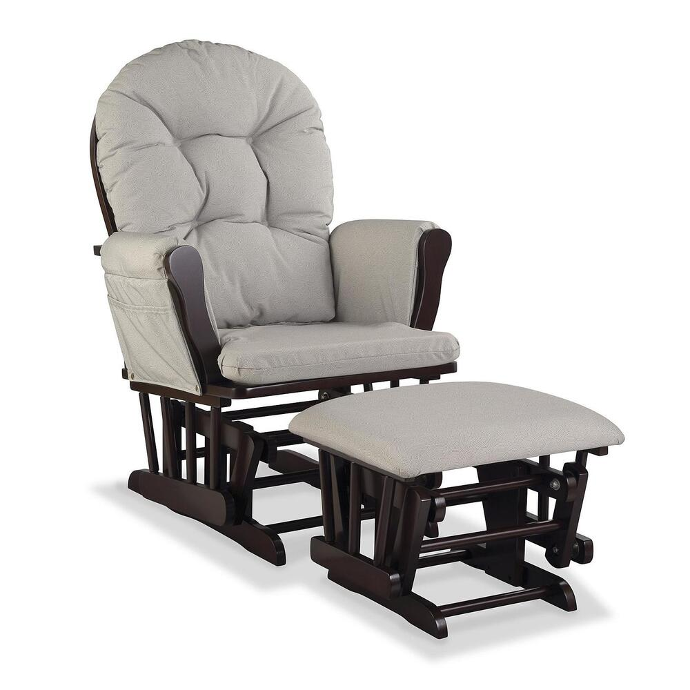 Dark Wood Ottoman ~ Nursery glider chair baby rocker furniture ottoman set