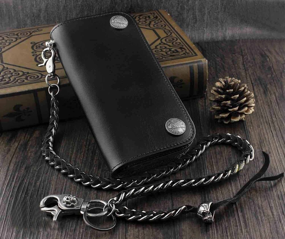 New Mens Genuine Leather Biker Rocker Long Wallet Purse W
