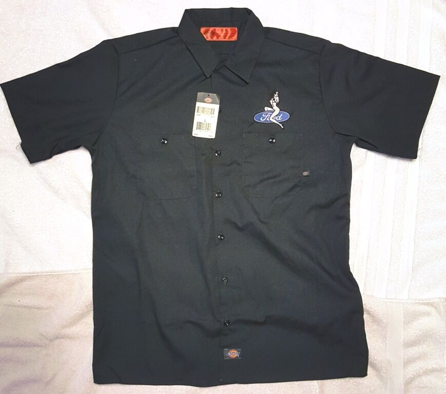 New custom dickies dark navy embroidered sexy lady ford for Mechanic shirts with logo