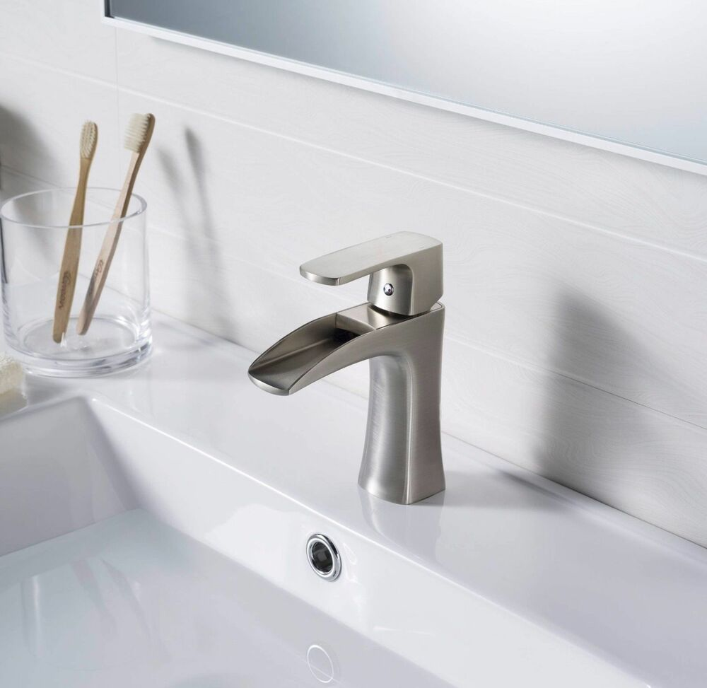 "7 Faucet Finishes For Fabulous Bathrooms: 7"" Waterfall Bathroom Faucet Chrome/Brushed Nickel/Oil"