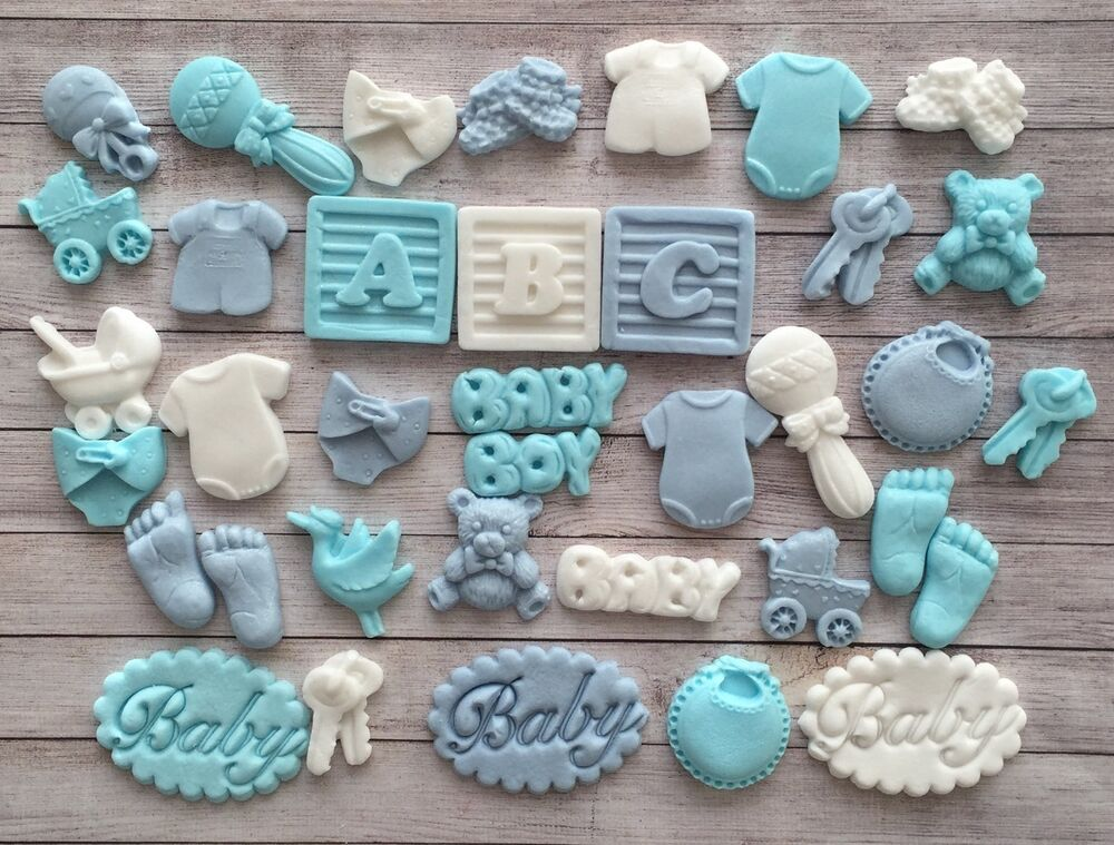 38 blue white baby boy christening edible cupcake for Baby footprints cake decoration