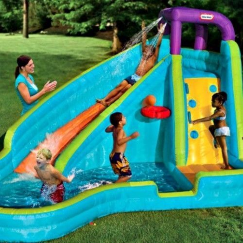 Huge Backyard Water Slide : Water Slide Inflatable Pool Bouncer Kids Outdoor Basketball Backyard