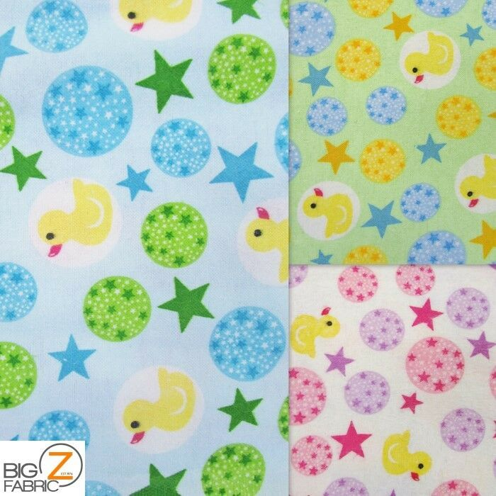 Duck stars print flannel fabric by the yard poly cotton for Children s flannel fabric by the yard