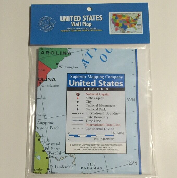 28x40 US Map of United States of