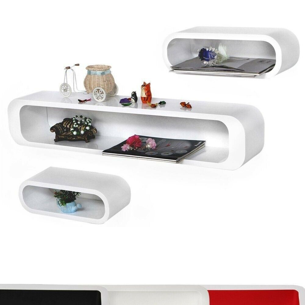Details About White Wall Shelves Oval Floating Stackable Modern Retro Design Set Of 3