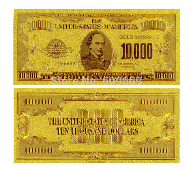 10000 ten thousand us dollars banknote gold foil 24k ebay for 200 thousand dollar homes