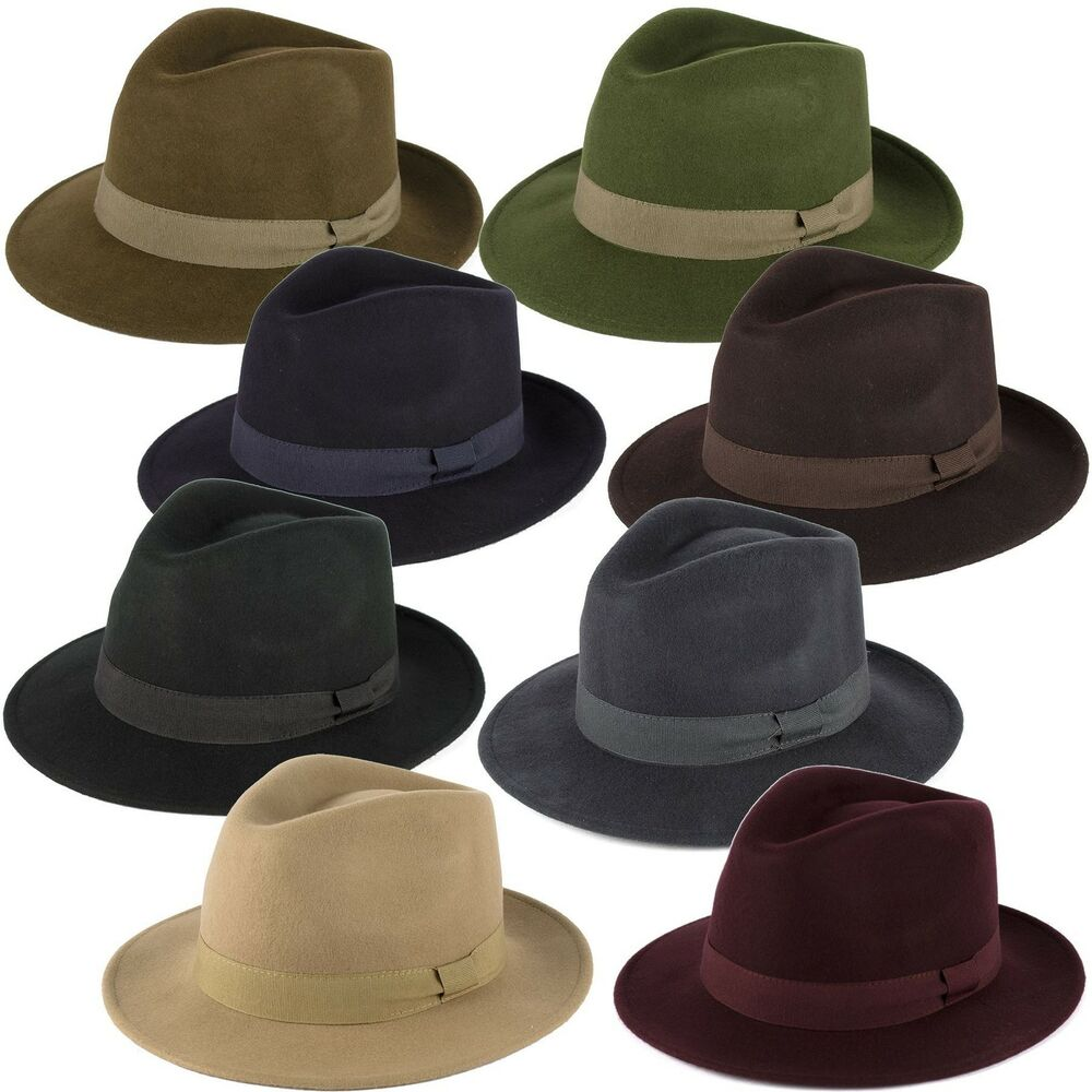 2192ad30c794d Details about 100% Wool Felt Fedora Hat with Grosgrain Band Handmade in  Italy