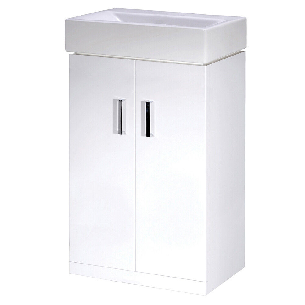 Checkers White High Gloss Bathroom Vanity Basin Sink Unit 450mm Modern Two Do