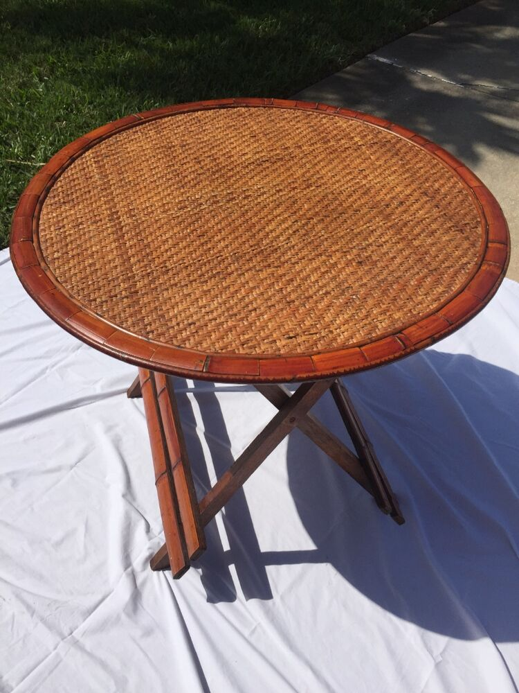 Bamboo Rattan Folding Table With 6 Matching Chairs Ebay