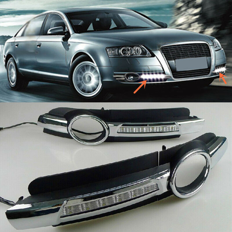 2x Led Lights Daytime Run Fog Lamp Cover Drl White For Audi A6 A6l C5 2005 2008 Ebay