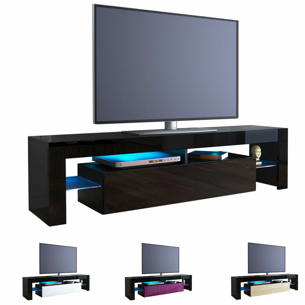 black high gloss modern tv stand unit media entertainment. Black Bedroom Furniture Sets. Home Design Ideas