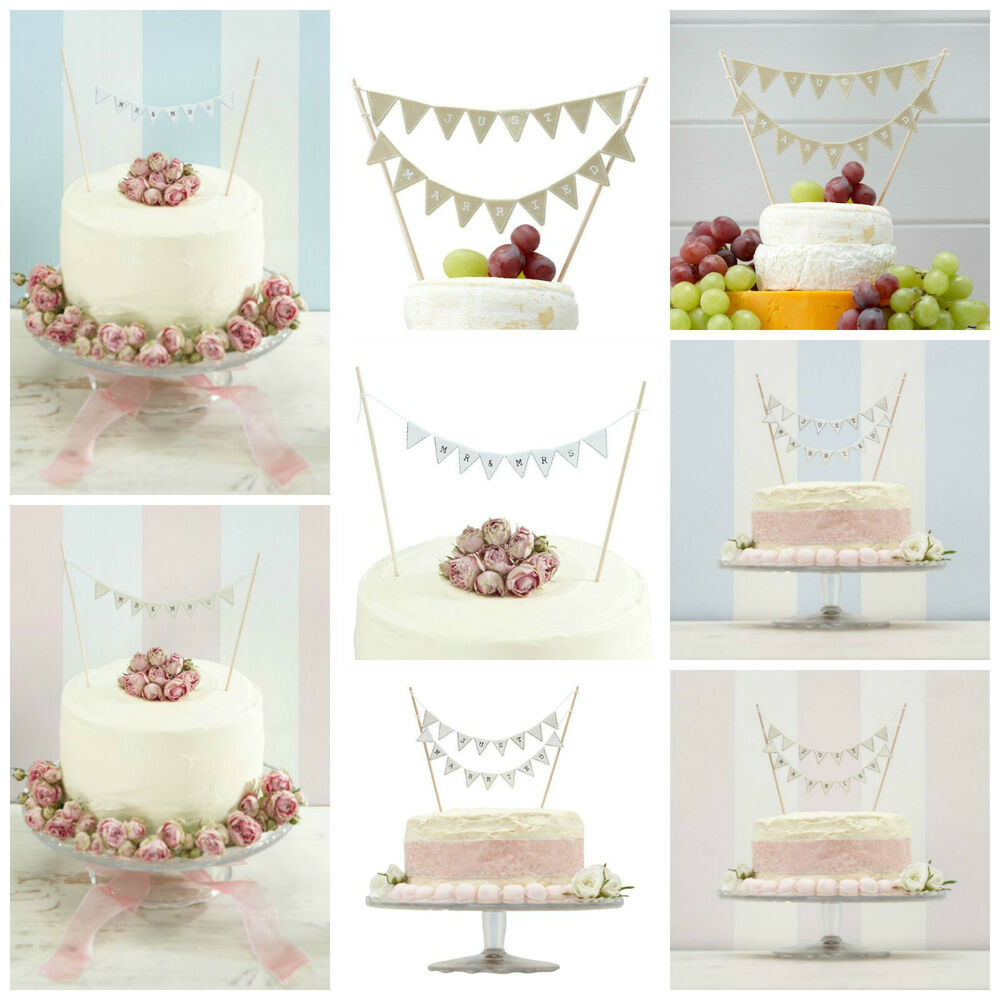mr mrs or just married wedding cake bunting toppers natural ivory or white ebay. Black Bedroom Furniture Sets. Home Design Ideas
