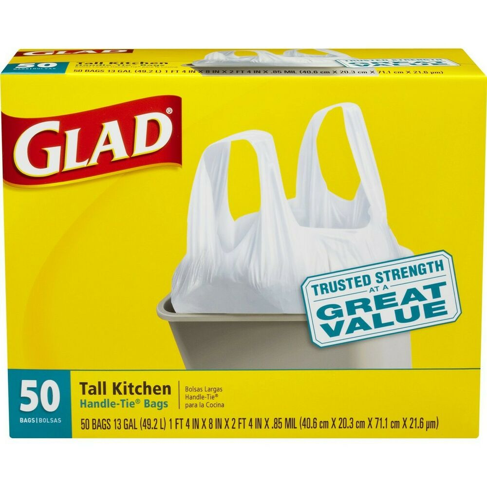 Kitchen Garbage Bags: Glad Tall Kitchen Handle-Tie Trash Bags White 13 Gallon 50