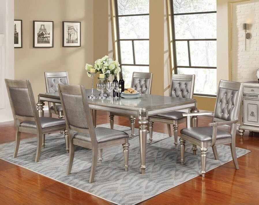 Formal metallic platinum 7 piece dining set table arm for 7 piece dining room sets under 1000