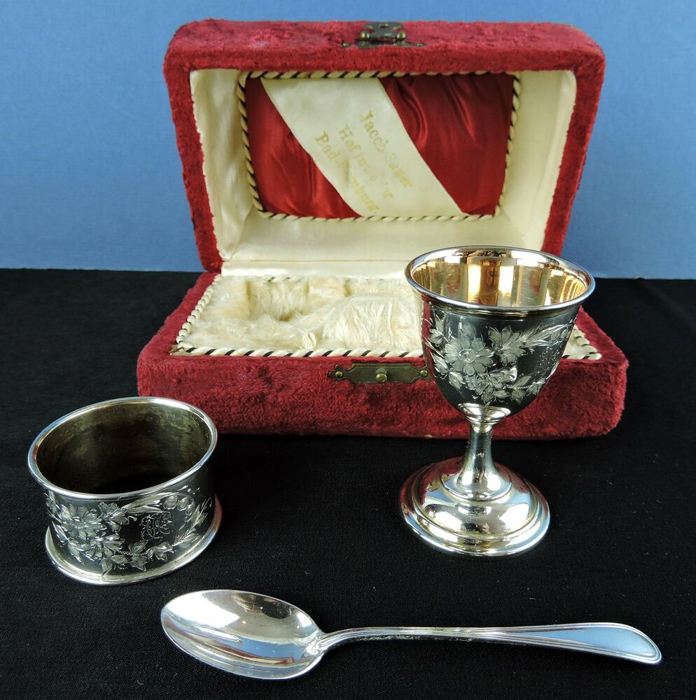 Antique German Boxed Set Egg Cup Napkin Ring Amp Spoon 800