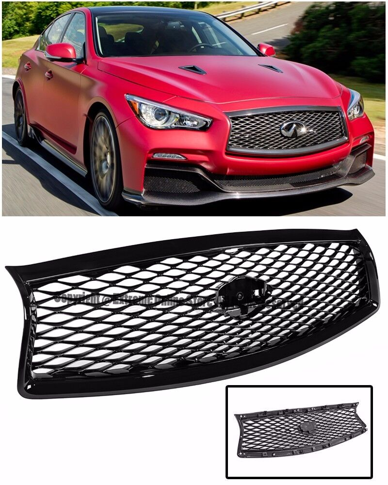 for 14 up infiniti q50 sedan 4dr jdm eau style front bumper hood grille black ebay. Black Bedroom Furniture Sets. Home Design Ideas