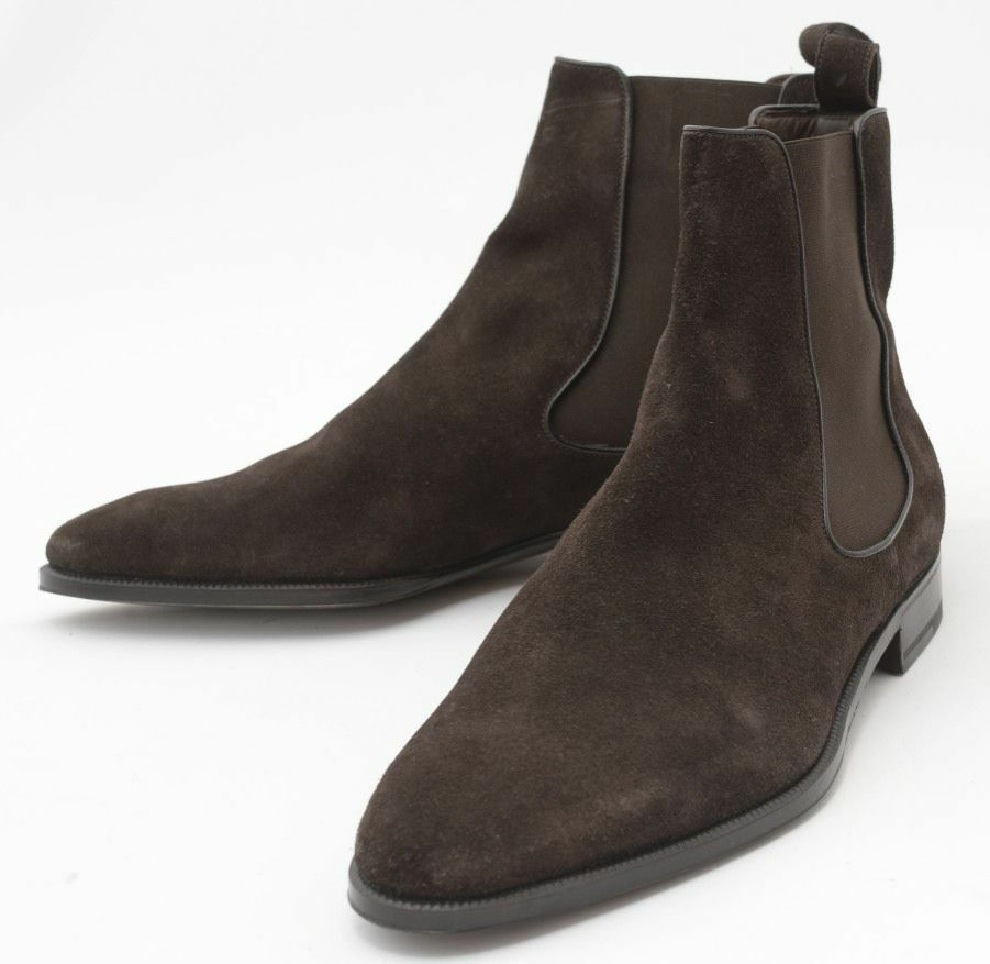 new handmade mens choco brown chelsea suede leather boots