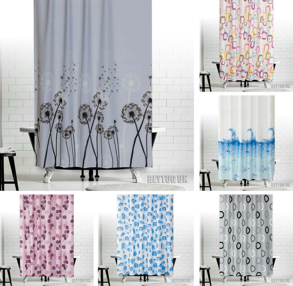 colorful fabric shower curtains extra long wide bespoke 5. Black Bedroom Furniture Sets. Home Design Ideas
