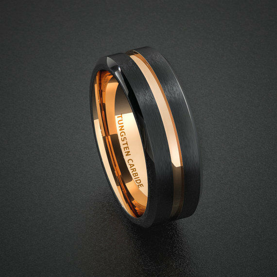 Tungsten Wedding Band Mens Ring Two Tone Rose Gold Black Groove Carbide Ring