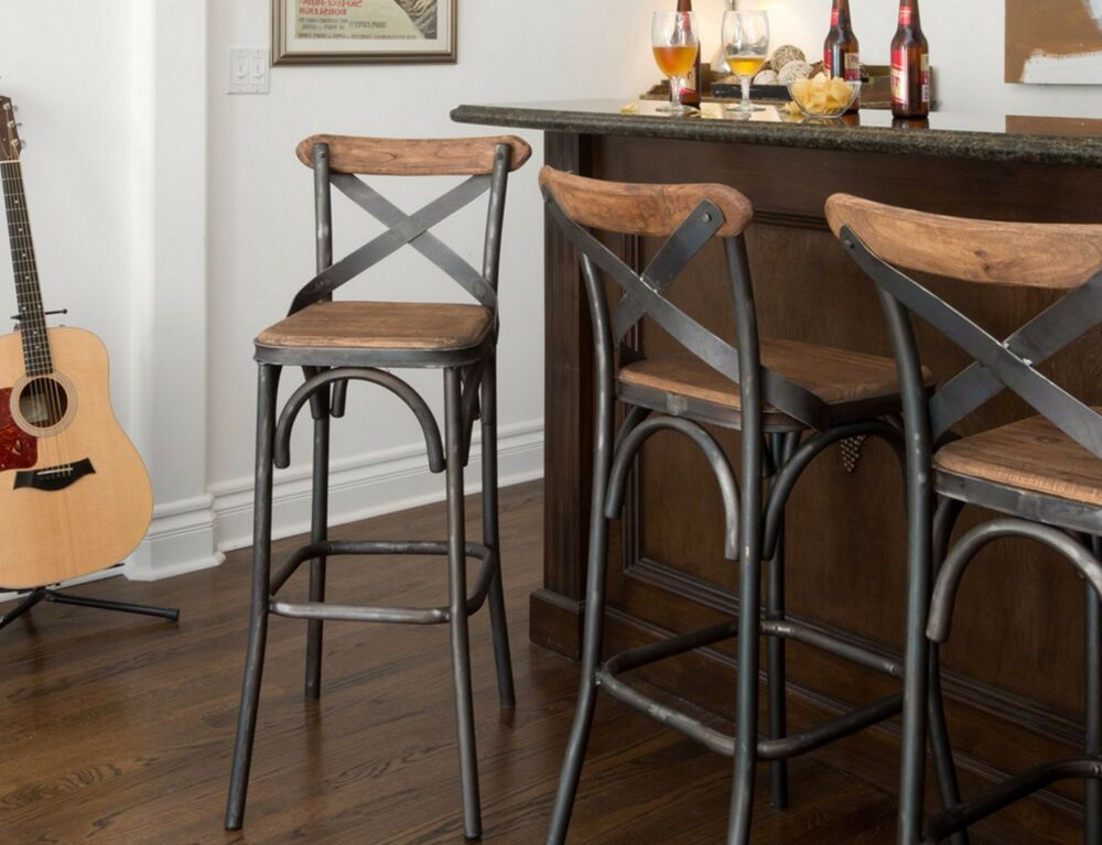 30 Square Wood Back Seat Bar Stool High Chair Kitchen