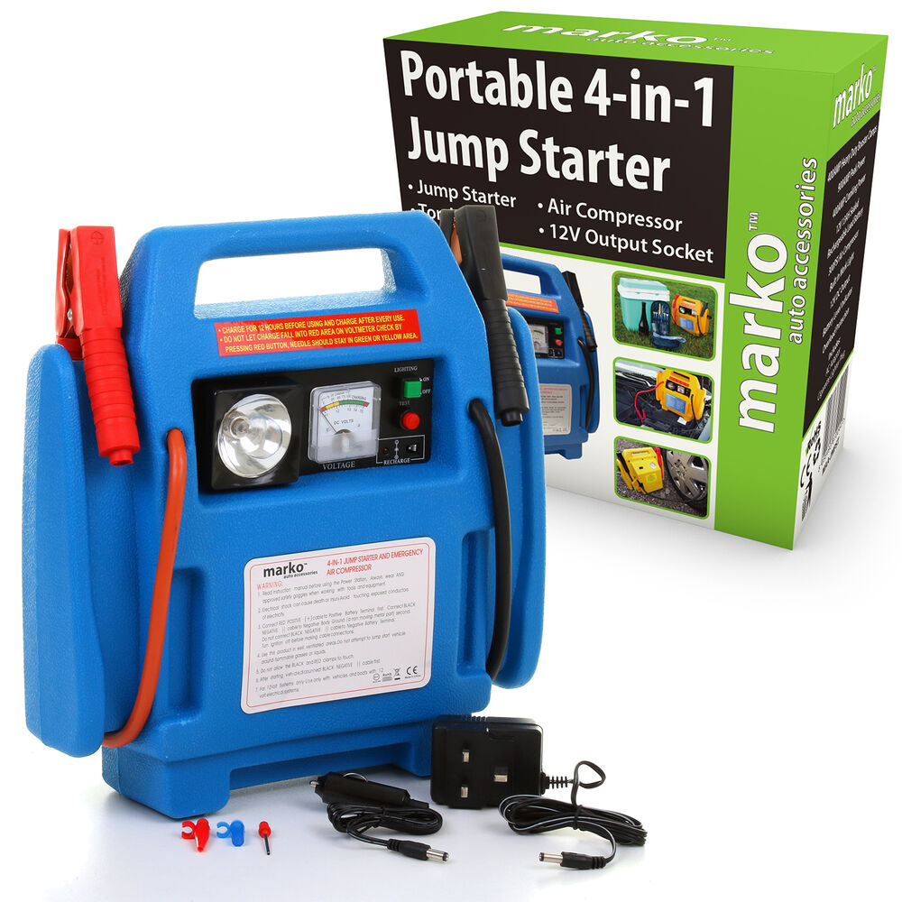 car jump starter air compressor battery charger booster leads heavy duty ebay