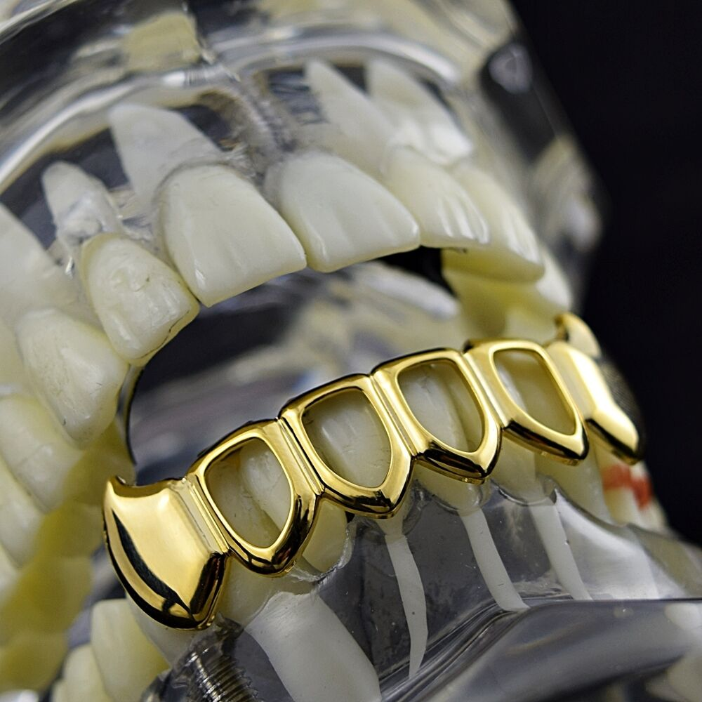 Fang Grillz 4 Four Open Face Teeth 14k Gold Plated Lower ...