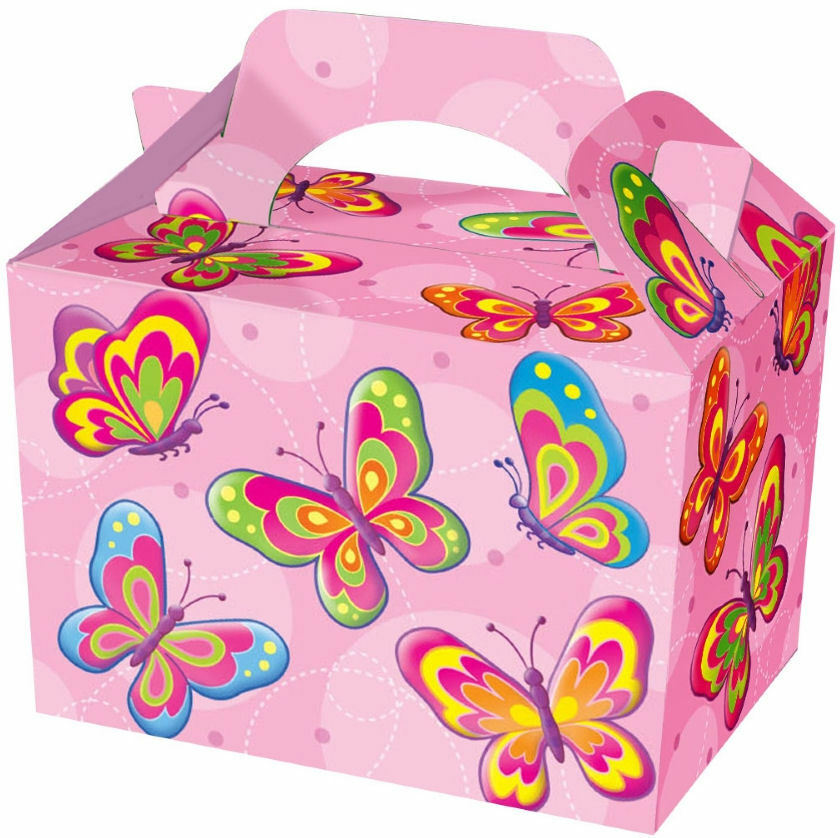10 Butterfly Party Boxes Food Loot Lunch Cardboard Gift