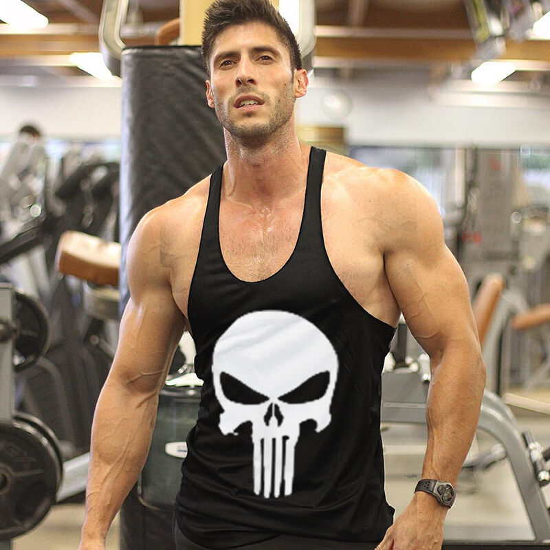 New Gym Muscle Bodybuilding Black Leather Fitness Lifting: Men Punisher Gym Bodybuilding Stringer Tank Top Fitness