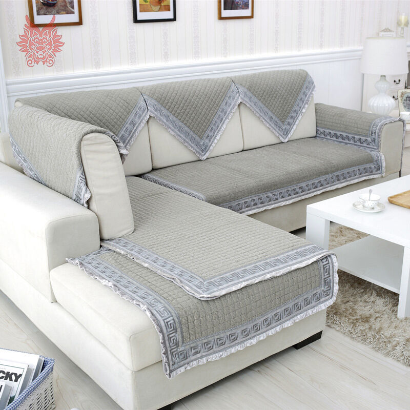 Grey velvet quilted sofa cover quilting slipcovers canape for Canape sofa cover