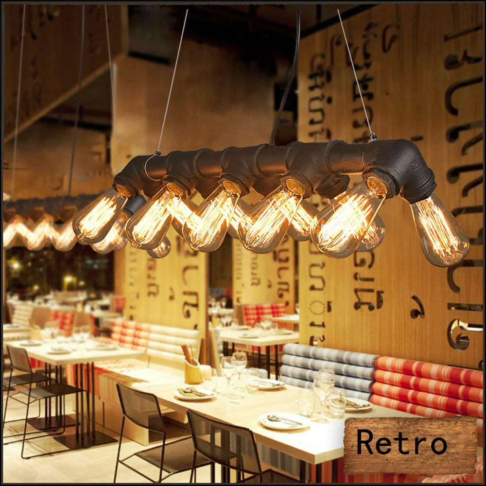 5 10er retro rohr leuchte lampe vintage industrial pendelleuchte h ngeleuchte ebay. Black Bedroom Furniture Sets. Home Design Ideas