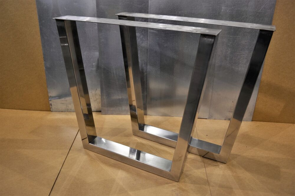 Polished Stainless Rectangular Tapered Metal Table Bench
