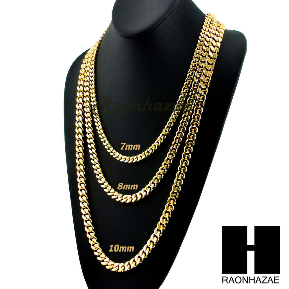 Miami Cuban Yellow 14k Gold Plated 7 10mm Wide 24 Quot 30