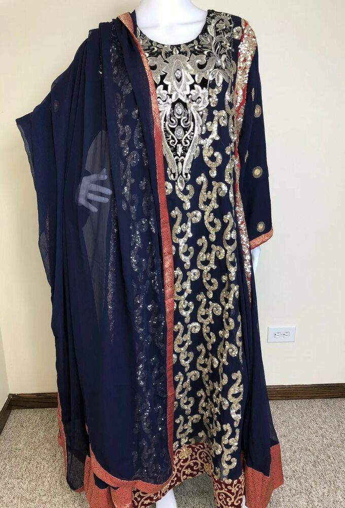 Pakistani Ethnic Designer Gown Salwar Kameez PartyWear Embroidery Dress XL | EBay