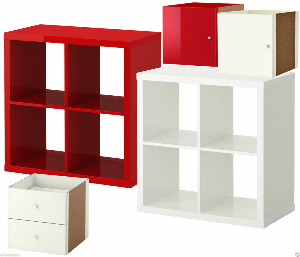 ikea kallax regal hochglanz rot weiss 4 fach t r schublade. Black Bedroom Furniture Sets. Home Design Ideas