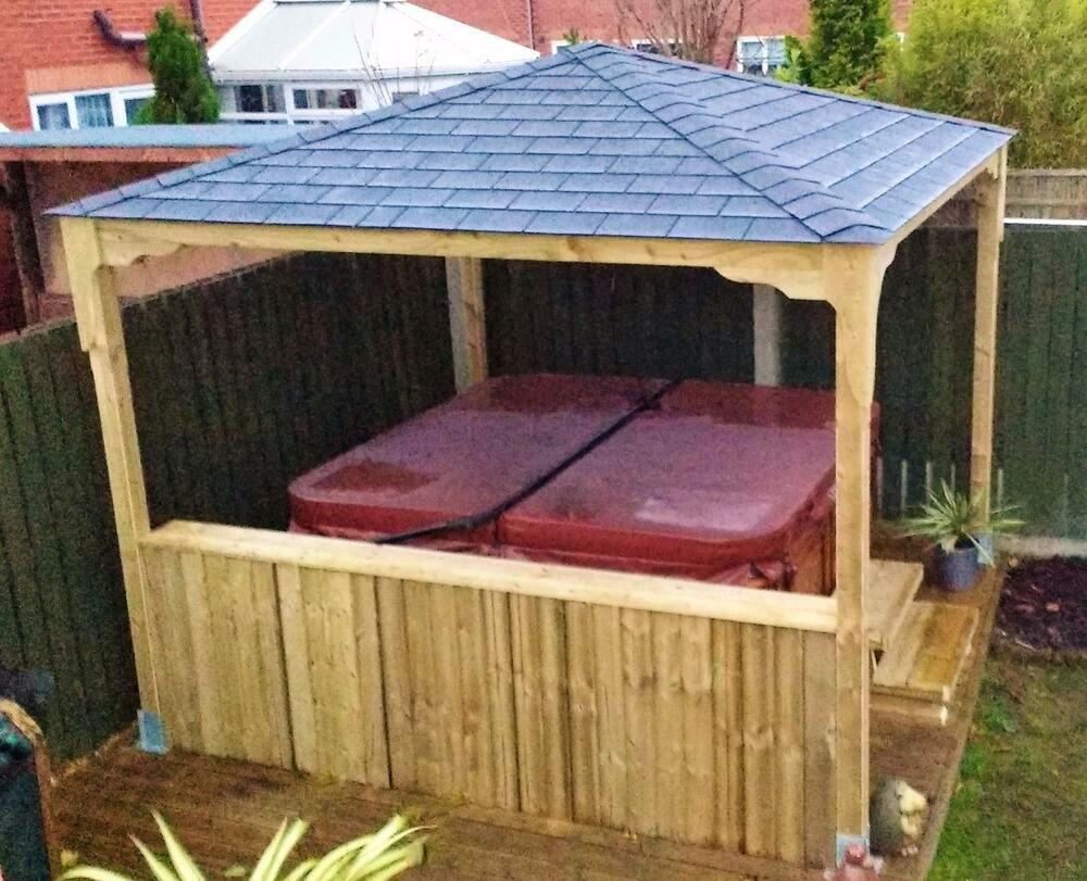 Wooden gazebo hot tub gazebo smoking shelter pond for Hot tub shelters