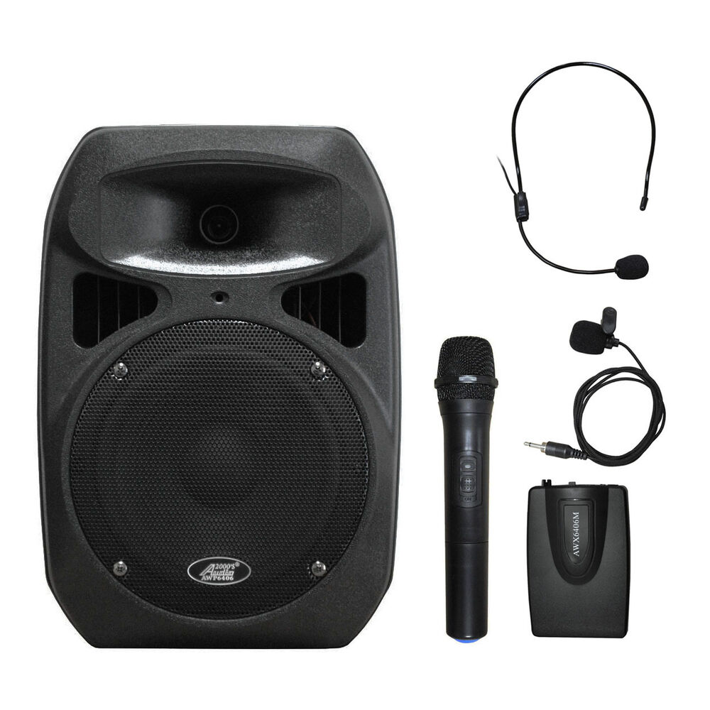 6408bhl 8 spraker dual channel battery powered wireless portable pa system ebay. Black Bedroom Furniture Sets. Home Design Ideas
