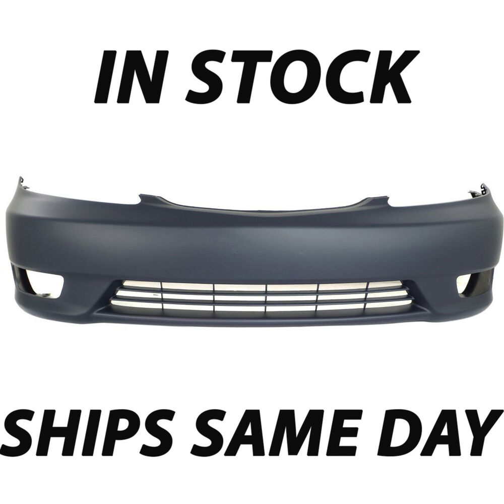 new primered front bumper cover replacement for 2005 2006 toyota camry w fog ebay. Black Bedroom Furniture Sets. Home Design Ideas