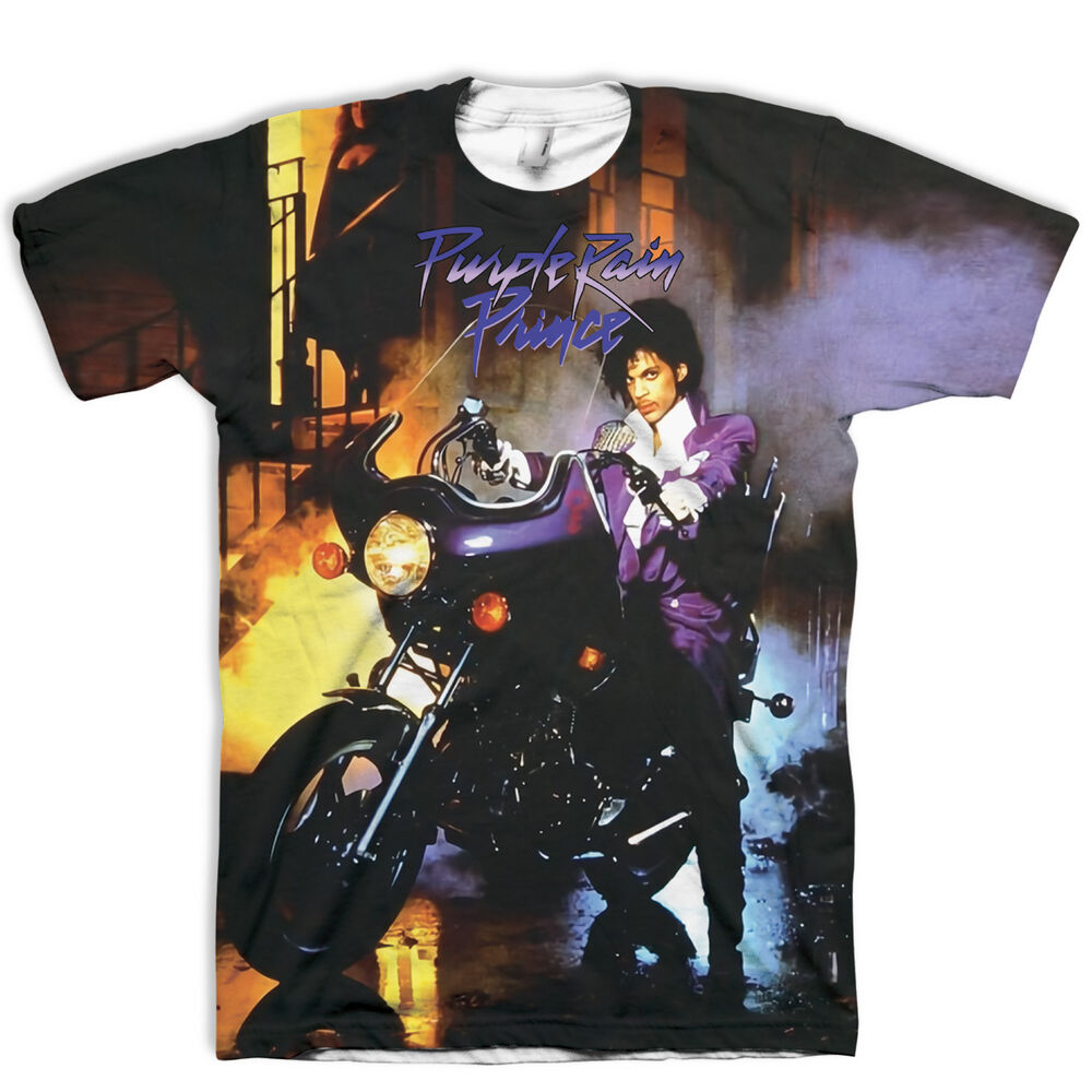 Limited edition all over print prince rip t shirt purple for Purple rain shirt prince