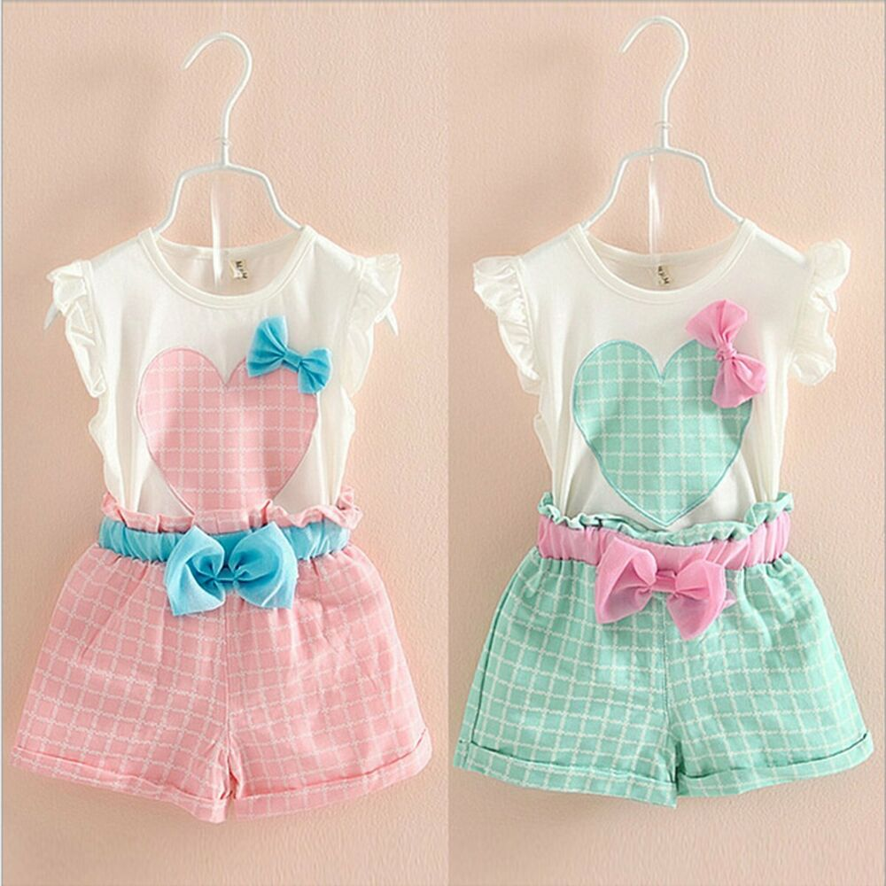 Toddler Kids Baby Girls Summer Outfits Clothes T shirt