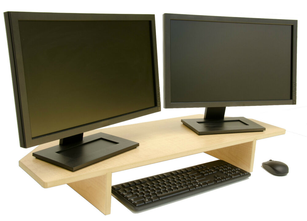 dual single monitor stand perfect for corners 35 x12 x5 5